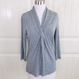 Grace Heather Grey Twist Front V-Neck Knit Top XS